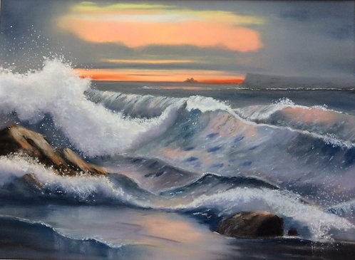 Rough Sea at Sunset