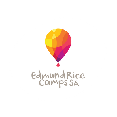 ERCSA Logo - Hot Air balloon with yellow, orange, pink/purple shapes) and text Edmund Rice Camps SA