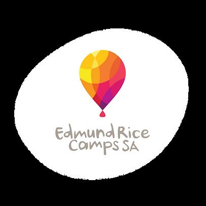 ERCSA Logo - Hot Air balloon with yellow, orange, pink/purple shapes) and text Edmund Rice Camps SA