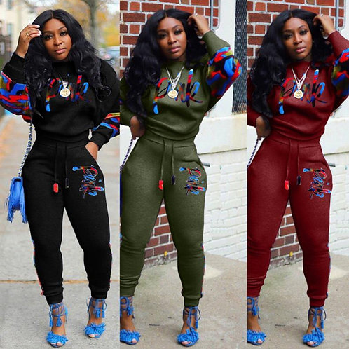 2 Two Piece Set Women Track Suit Tops and Pants