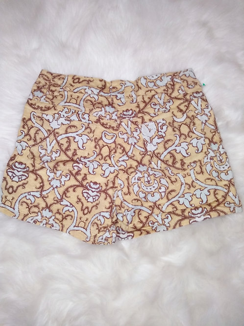 'AC-3998' Size-14 Golden Paisley Print Shorts