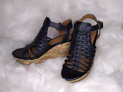 'Route 66' Size-7 Black Gladiator Wedges