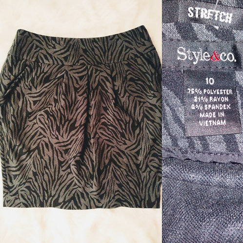 'Style & Co' Size-10 Black and Grey Zebra Print Mini Skirt