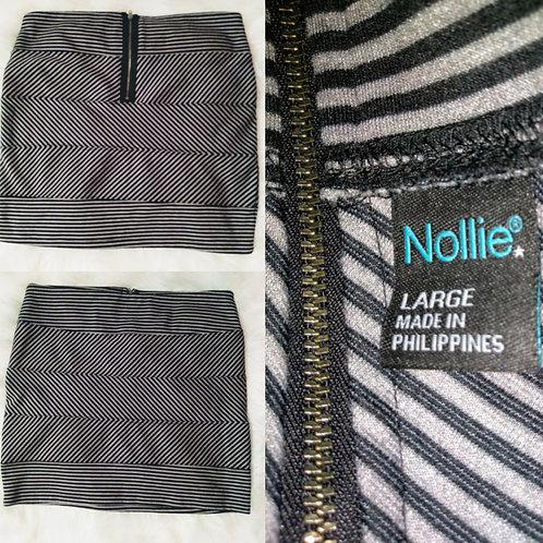 'Nollie' Large Cris Cross Striped Mini Skirt