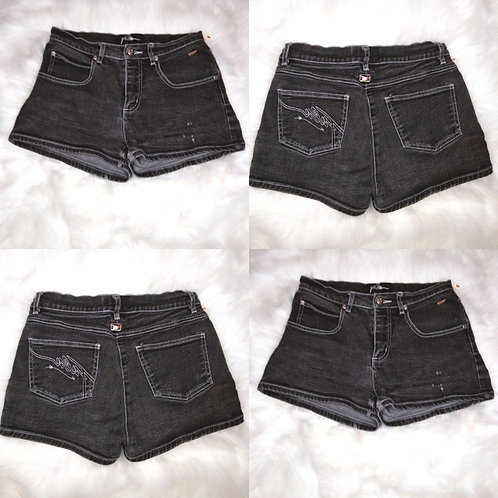 'Fallen The Collection' Size-3/4 Grey and Black Ombre Wash Shorts