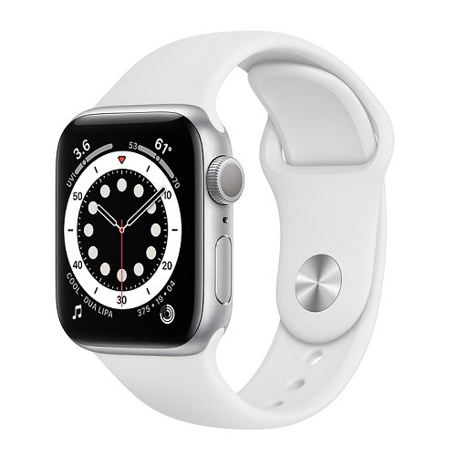 Часы Apple Watch Series 6 silver 44(42)mm (белый ремешок)
