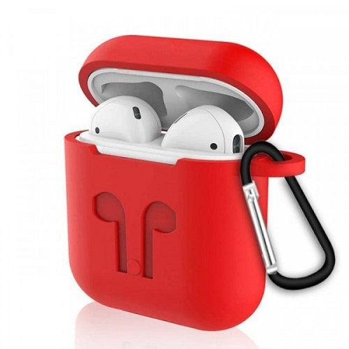 Чехол с карабином для наушников Apple AirPods Silicone Case red