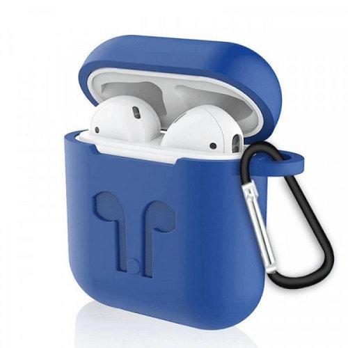 Чехол с карабином для наушников Apple AirPods Silicone Case blue