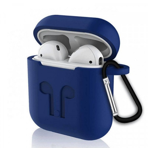Чехол с карабином для наушников Apple AirPods Silicone Case dark blue