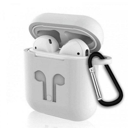 Чехол с карабином для наушников Apple AirPods Silicone Case light grey