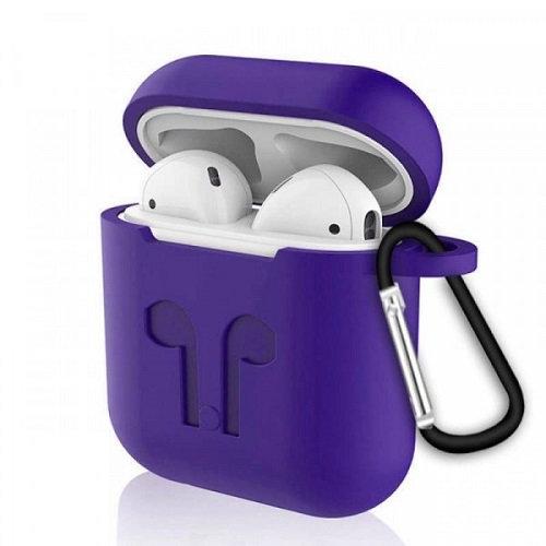 Чехол с карабином для наушников Apple AirPods Silicone Case purple