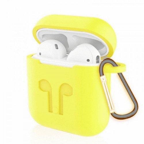 Чехол с карабином для наушников Apple AirPods Silicone Case yellow