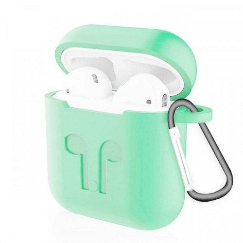Чехол с карабином для наушников Apple AirPods Silicone Case mint