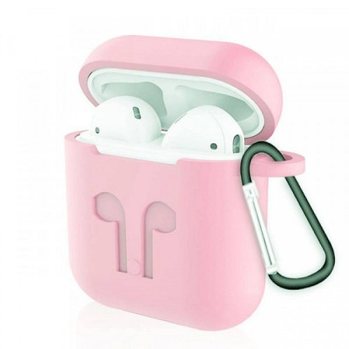 Чехол с карабином для наушников Apple AirPods Silicone Case pink