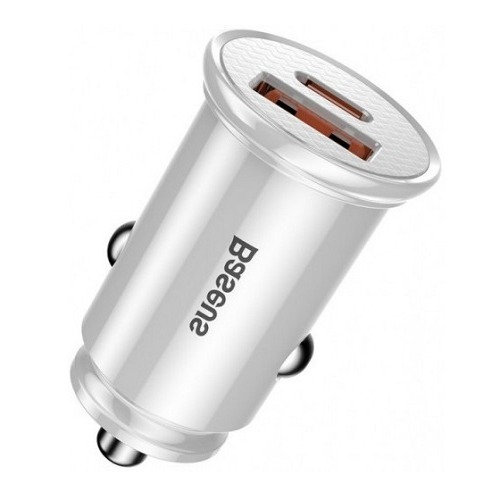 Автомобильное зарядное устройство Baseus Circular Plastic 30W PPS 2А white