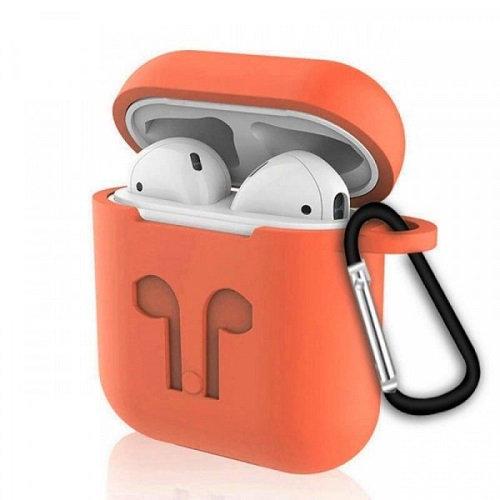 Чехол с карабином для наушников Apple AirPods Silicone Case orange