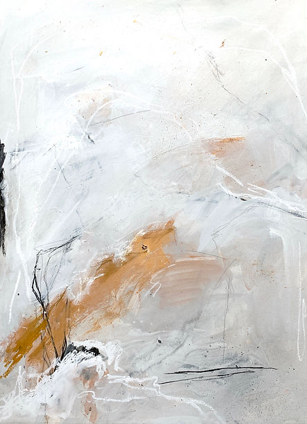 Neutral, abstract, mixed-media painting