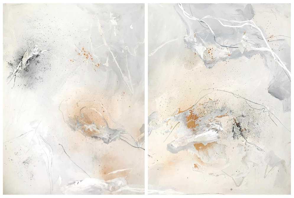 Jenna Polla, Neutral, abstract, mixed-media painting