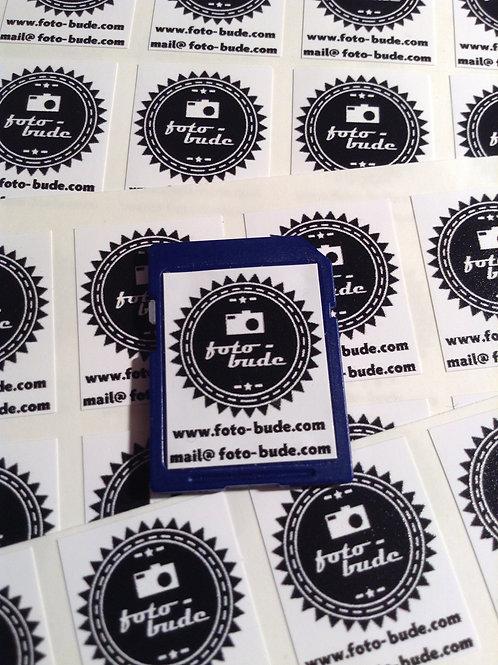 150x individuell bedruckte SD Karten Aufkleber