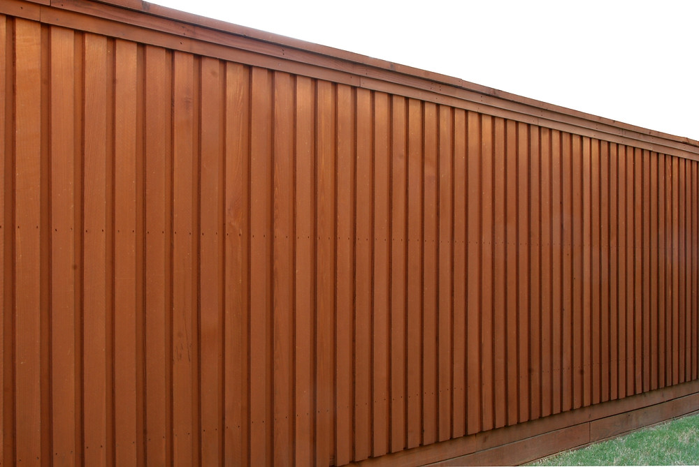 Stained timber fence
