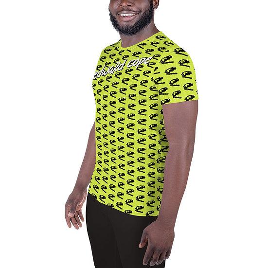 Dino Skull (Neon Yellow) All-Over Print Men's Athletic T-shirt