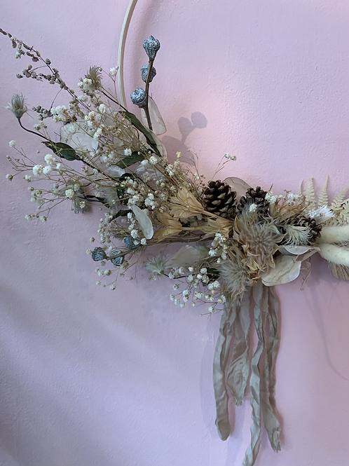 Dried hoop wreath in whites and natural tones