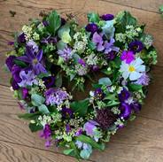 open heart wreath in purples