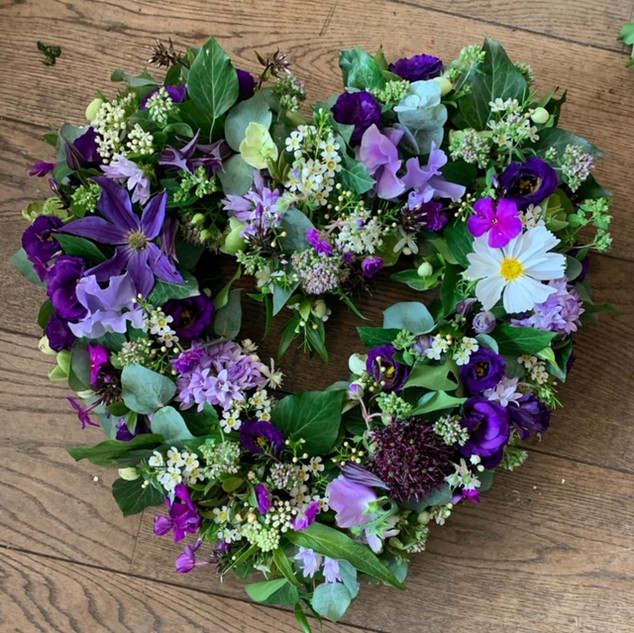 open heart wreath in purples