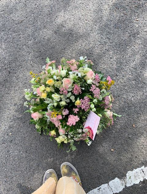 large posy in pink and lemon