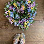 Open heart wreath in blue, yellow and li