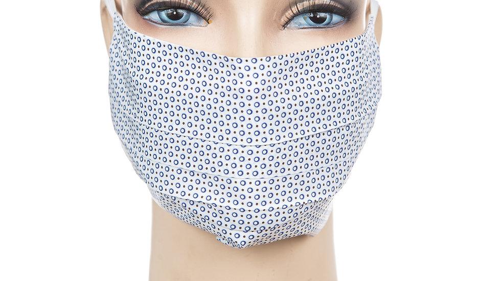 Mund Nasen Maske Baumwollbatist weiß mit blauen Kreis