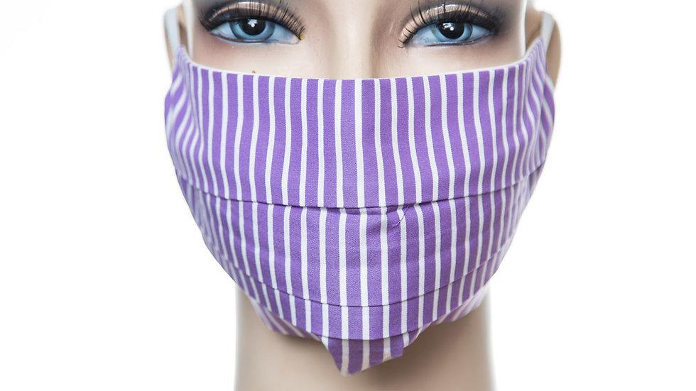 Mund Nasen Maske Baumwolle lila weißer Streifen 1