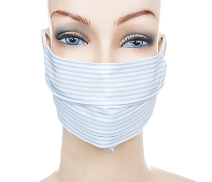Mund Nasen Maske Baumwolle hellblauer Streifen 1