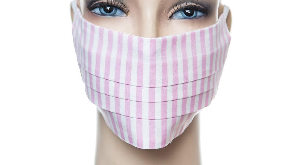 Mund Nasen Maske Baumwolle rosa gestreift 2