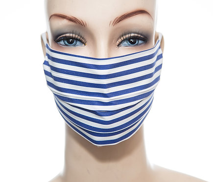 Mund Nasen Maske Baumwolle dunkelblauer Streifen 1