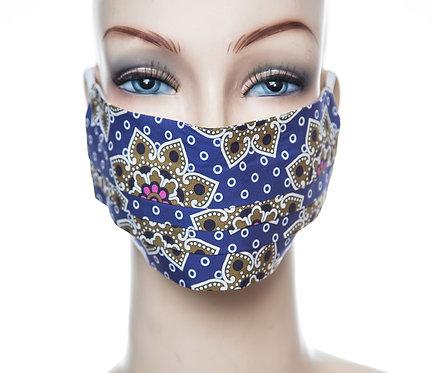 Mund Nasen Maske Baumwolle blau/curry/r
