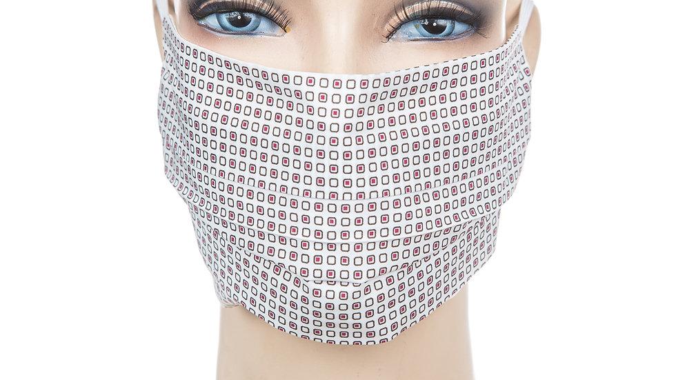 Mund Nasen Maske Baumwolle weiß/weinrot Batist