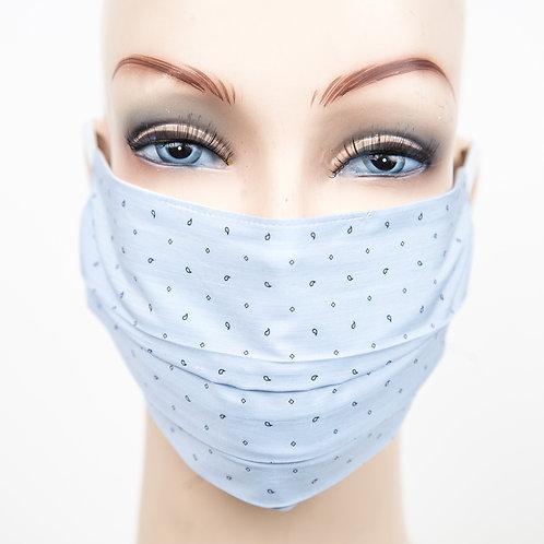 Mund Nasen Maske Baumwolle blau mit kleinem Druckdessin