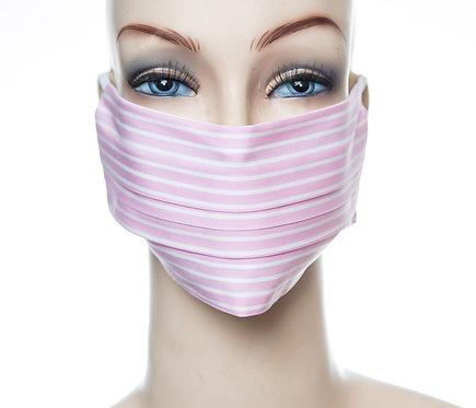 Mund Nasen Maske Baumwolle rosa/weiß 1