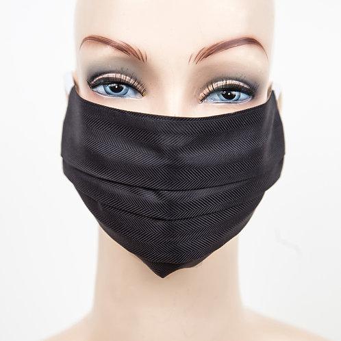 Mund Nasen Maske Baumwolle schwarz/fischgrät
