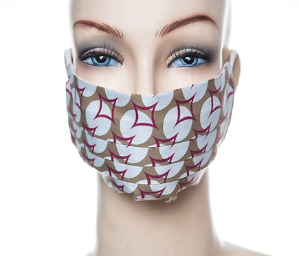 Mund Nasen Maske Baumwolle khaki/bordeaux