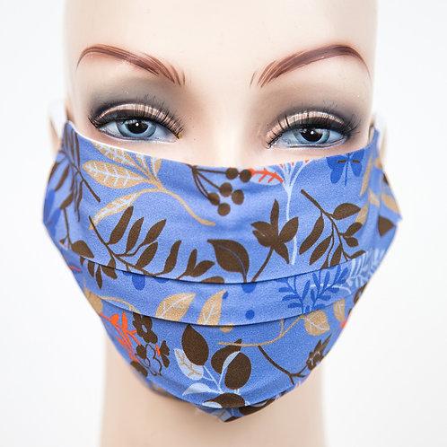 Mund Nasen Maske Baumwolle blau florales Dessin