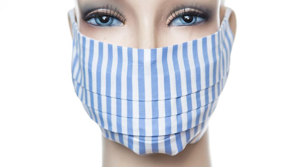 Mund Nasen Maske Baumwolle himmelblauer Streifen