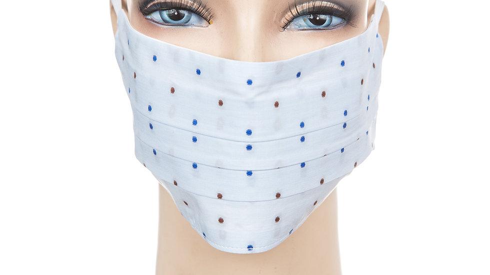 Mund Nasen Maske Baumwolle hellblau mit blauen u. braunen TupfenMund