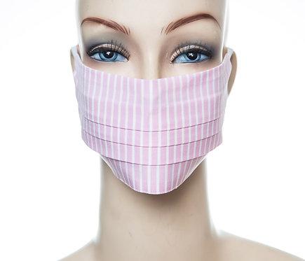 Mund Nasen Maske Baumwolle rosa/weiß Streifen 2