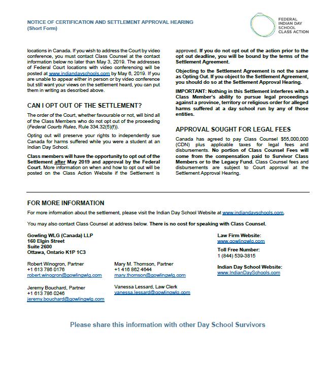 Short Version-Notice of certification an