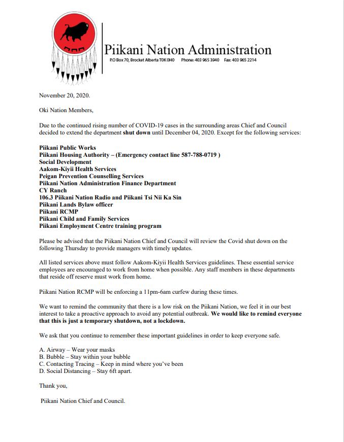 Office closure memo Nov 20 to december 4