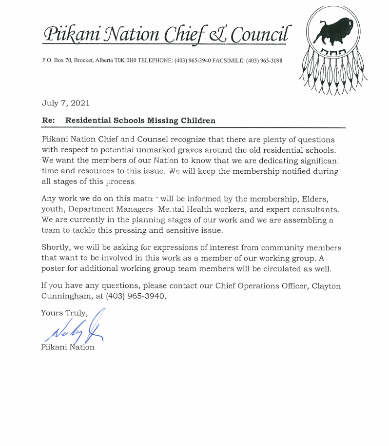 Letter from COO regarding residential schools. .png