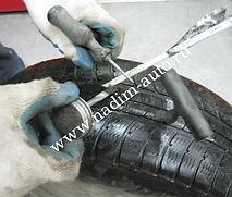 Ремонт резины Вставляем жгут вшило и обмазываем клеем
