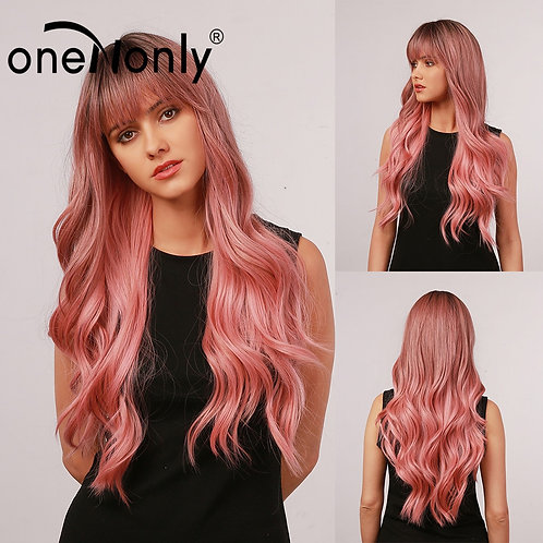 Long Hair Pink Ombre Sissy Wig With  Bangs
